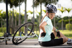 Woman injured in bicycle accident. Call Car Accident Lawyers for help at <a class='mcPhoneLink' data-galocation='Main Content (ID #14)' href='tel:+12128080448'>212-808-0448</a>